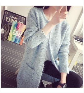 Sweater Women Mohair Knit Cardigan Coat New Autumn Winter pocket Korean Female sweter Loose Clothing Vestidos LXJ319