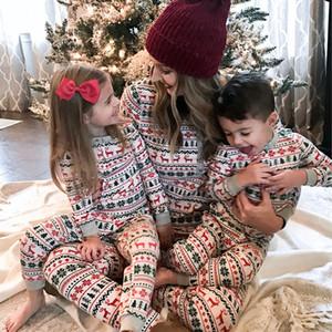 Fast shipping Christmas Pajamas 2020 Family looking Print Adult Women Kids men Family Matching Clothes sleepwear Set