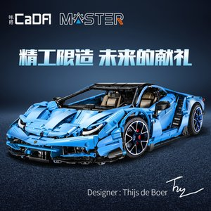 Cada MOC Technic Series Lamborghinis Memorial Cow Roadster Car Model Kit Building Blocks Bricks Toys For Boys Fit 42115 DIY Gift X0102
