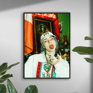 HD Print Billie Eilish Middle Finger Canvas Art Picture for Living Room Home Decor