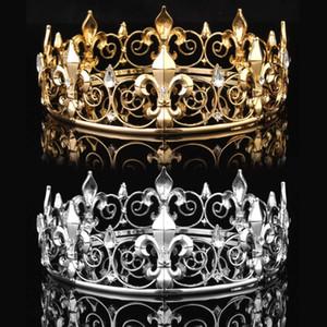 Golden / argent Mariage Mariage Crystal Crystal Tiara Crown King King Queen Prom Strass Veil Veil Veil Tiara Bandeau De Mariage Bijoux Cheveux Y19061503