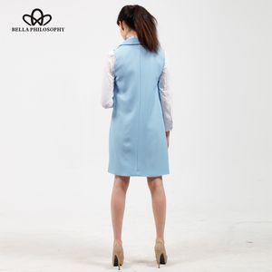 Bella Philosophy women vest autumn jacket brand WaistCoat pockets open stitch sleeveless blue pink beige blazer colete feminino 201119