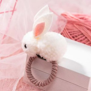 DHL Fashion Cute Ball Rabbit Hair Ring Female Tie Rope Korean Elastic Rubber Hair Bands Bunny Hair Clip Children Accessories