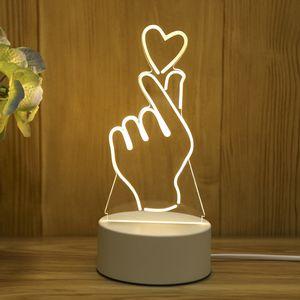 3D Night Light USB Lamp Valentines Day Gift Love Heart Lamp Bedroom Child Living Room Home Decor w-00591