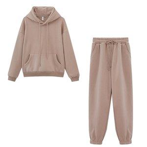 Toppies 2020 otoño invierno Fleece sudaderas con capucha para mujer de dos piezas de la chándales del basculador pantalones gruesos ropa de abrigo C0927 C0929