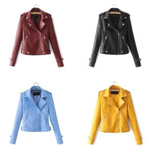 Ladies motorcycle Pu leather jacket Ladies autumn and winter coat Autumn zipper coat Ladies PU biker woman jacket coat
