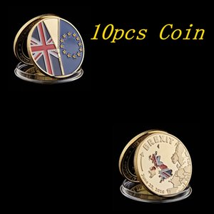 10pcs June 23 2016 UK Brexit National Vote Independent Gold Plated Commemorative Coin Collection With Protection Capsule