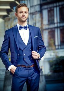 Hot Selling Groomsmen Royal Blue Groom Tuxedos Peak Lapel Men Suits Wedding Prom Dinner Best Man Blazer ( Jacket+Pants+Tie+Vest ) G145