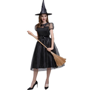 Halloween new black yarn witch costume witch clothes with hat temperament dark night ghost game costume stage costume