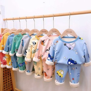 warm underwear winter new plush Children's home suit two piece pajamas for boys and girls