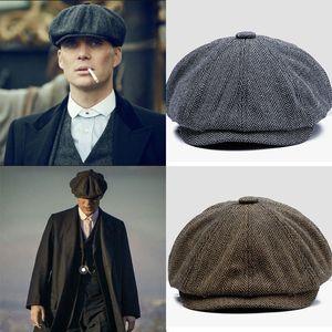 Men vintage Herringbone Gatsby Tweed peaky blinders Newsboy hat spring Flat Peaked beret Hats
