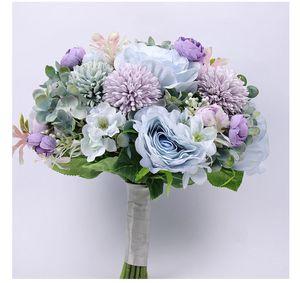 Morandi Blue Handholder Blume Seide Künstliche Blumen Brautsträuße Home Decoration Rose Hochzeit Lieferant Bouquet Billigverkauf