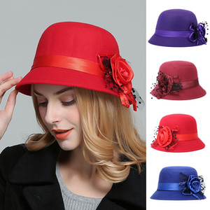 Elegant Ladies Formal Fedora Bowler Hats Fashion Vintage Women Hat Imitation Woolen Flower Autumn Winter Keep Warm Bucket Cap