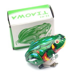 Retro metal Vintage Wind-up Jumping Frog Clockwork Tin Toys Mini Pull Back Jumping Frog Wind Up brinquedos para as crianças Meninos