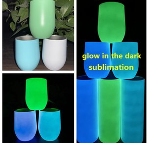 sublimation wine tumbler glow in the dark wine tumblers 12oz Dazzling wine glassess with Luminous paint Luminescent staliness steel egg cup