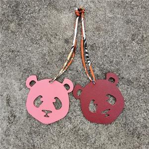 Luxury Silk Strap Real Genuine Leather Panda Keychain Pendant Animal Key Chain Women Backpack Bag Charm