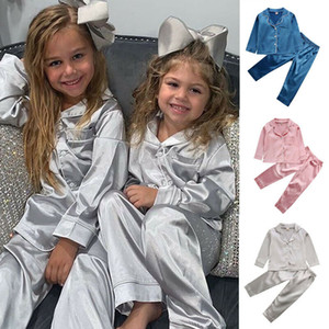 Kids Pajamas New Autumn Girls Boys Satin Sleepwear Nightwear Baby Infant Clothes Solid Pajama Sets Children's Pyjamas 1-7Y