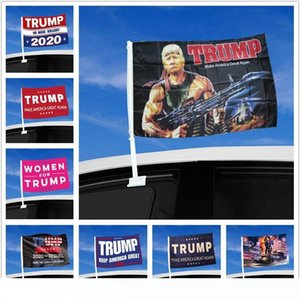 Car Window Flag Trump Flag Hanging 45*30cm Decor Banner Keep America Great Donald Trump 2020 Campaign Flags For Car