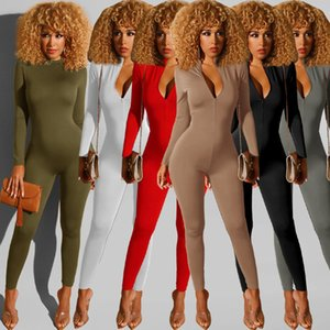 6 colors jumpsuit women fashion Spring new Solid color elastic bodysuit pants sexy casual sports fitness leisure Jumpsuit Slim Rompers