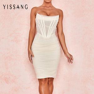 Yissang blanca sin tirantes del vendaje atractivo de malla Mediodía vestido de las mujeres del hombro Alineado del partido del club de los vestidos de verano elegante ajustado de Sundress