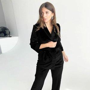 Hiloc noir tricoté velours pyjamas pyjamas chaudes robe solide Set de vêtement de nuit Femmes Ensemble trois quart de peignoir de peignoir d'hiver pyjama1