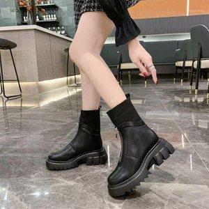 Frauen Knöchelstiefel PlarForm Thich Reißverschluss PU-Leder Stretch Stoff Schuhe Damen Rutschfeste Warm Plüsch Boden Klumpige Fersen Botas1