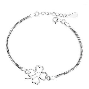 925 silver high quality simple lucky four-leaf clover silver bracelet for women fashion jewelry factory wholesale1
