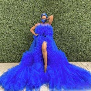 Royal Blue Overlay Prom Dreshe para las mujeres Vestidos de maternidad para la sesión de fotos Baby Baby Shows Front Split Plus Tamaño Vestido de noche Túrones