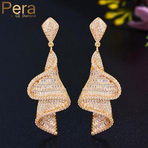 Wedding Jewelry Baguette Pera Dangle Pave Drop Cubic Geometry Bridal Long For Luxury Earrings Zirconia Costume Gold E647 Ujaue Iwuaq