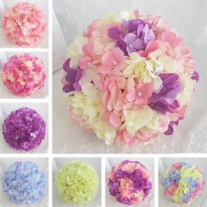 Vente chaude 4 Taille Hydrangea artificielle Ballon de fleurs DIY Silk Hydrangea Accessoire pour la décoration de mariage à la maison Faux fleurs Fournitures