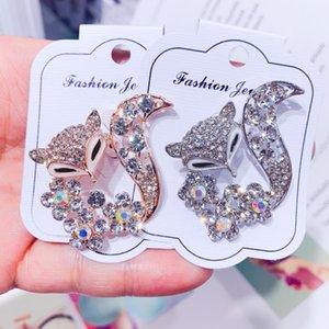 Niedliche Strass Brosche Mantel Hut Cardigan Zubehör für Frauen, die Kristall Fox Broschen Pins Geschenk