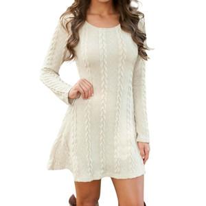 NORMOV Moda Kadınlar Sonbahar Kış Nedensel Kısa Kazak Elbise Uzun Kollu Gevşek Kazak Örme 5 Renk Artı Boyutu Elbiseler