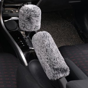 Winter Super Soft Plush Hand Brake Shift Knob Cover Warm Faux Auto Handlebar Car Accessories Car Decoration for Women
