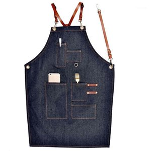 Aprons Denim Leather Simple Uniform Unisex Adult Jeans Aprons For Woman Men Male Lady'S Kitchen Barber Cooking Pinafores1