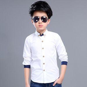 Teenage Boys Shirts School Shirt for Boys Turn Down Collar Shirt For Boys White Kids Teen Clothes 6 8 10 12 14 Year
