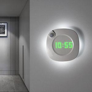 Gravity Induction Digital Wall Clock Helligkeit Wandbehang Uhr PIR Bewegungs-Sensor USB aufladbare LED-Lampen-Uhr-Hauptdekor