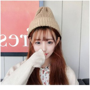 New Candy Colors Winter Hat Women Knitted Hat Warm Soft Trendy Hat Kpop Style Wool Beanie Elegant A qylcBW
