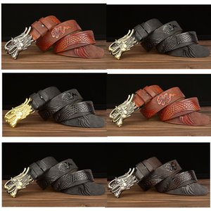 Domineering flying dragon men's real leather belt fashion barber belt smooth buckle leather personality leading pants belts men GY014
