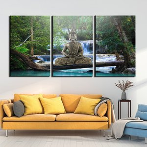 3 Pieces Canvas Pictures Home Wall Art Framework Decor Waterfall Buddha Painting For Living Room Prints Poster Canvas Painting
