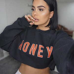 Chic Sexy Fashion lady Casual Print Honey Long Sleeve Baggy Hoodie Streetwear Crop Top Drop Shipping