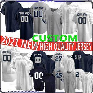 99 Aaron Juez 2 Derek Jeter 27 Giancarlo Stanton Custom 2021 NUEVO Jerseys de béisbol 45 Cole Gerrit 24 Gary Sanchez Bordado Top Shirt