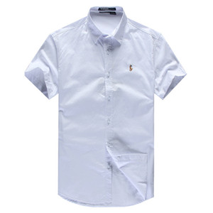 Classic RL Corrida Designer Casual Camisas Casuais # 002 Off Luxo Verão De Manga Curta Casual Moda Branco Marca Stripe Lapel Camisa Polo
