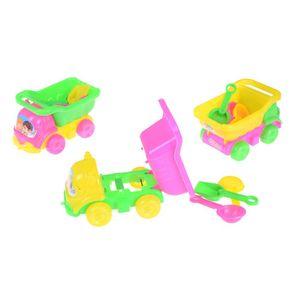 4PCS Set Children Seaside Bucket Shovel Rake Kit Funny Tools Kids Water Beach Sand Car Play Toys Set Random Color 15*8.5*8.5cm