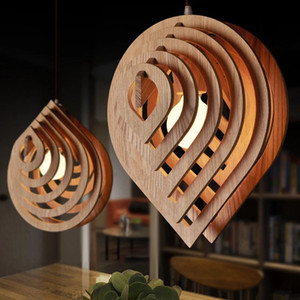 Modern Wood Pendant Lights E27 Nordic Wooden Water Drop Pendant Lamp Loft Pendant Lights Dining Room Home Lighting Decor