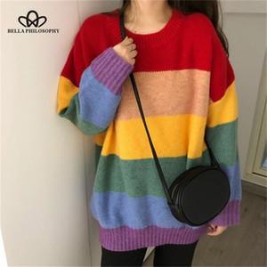 Bella Philosophy осень радуги свитер женщины Harajuku перемычки полосатый пуловеры негабаритные свитера корейский винтажный трикотаж 201016