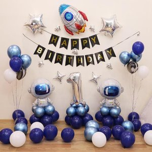 Birthday Balloon Space Series Newborn Baby Shower First Birthday Party Decoration Foil Balloons For Kids Air Balloons Girl Boy jllywB