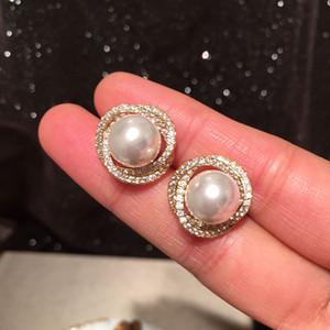 Elmas Zirkonya Zarif Inci Küpe Yeni Moda Kadın Kızlar Için Basit Tiny Saplama Küpe S925 Gümüş Post