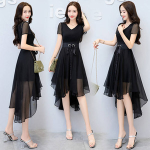 6 Colors Tea-Length A-Line Chiffon Patchwork Candy Women Black Red Green Pink Purple Cocktail Dresses party
