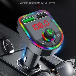 Car Charger Bluetooth 5.0 FM Transmitter RGB Atmosphere Light Car Kit MP3 Player Wireless Handsfree Audio Receiver F5 F6 with Retail Box