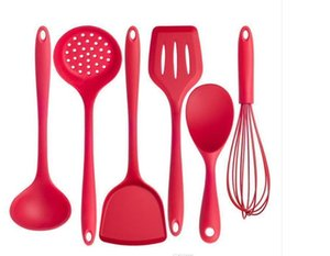 Utensils Silicone Kitchen Tools Turner Cooking Soup Spoon Spatula Non-stick Shovel With Handle Egg Beater Heat-resistant 6pcs 766 27 32